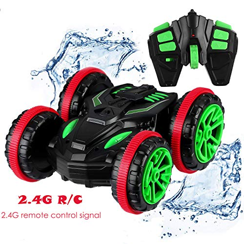 (Ezire Remote Control Car, 2.4Ghz 4WD High Speed RC Vehicle Racing Car Toy Gift Double Sided Stunt Car 360 Degree Spins Flips Land & Water Toy Cars for Kids Adults Birthday Chritmas Present)