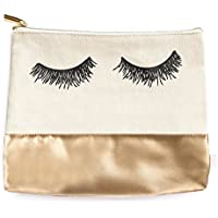 Eyelashes Faux Gold Leather Makeup Bag, Makeup Brush Holder, Makeup Organizer, Cosmetic Pouch, Storage Back To School, Pencil Pouch, Pencil Bag, Cosmetic Bag