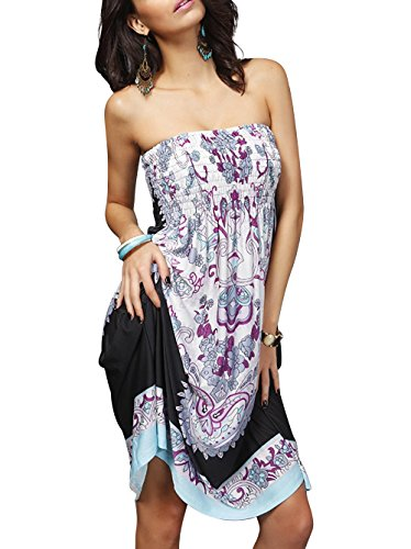 Newbely Women V-neck Sundress Cover Ups Bohemia Bikini Beach (Beach Shapes)