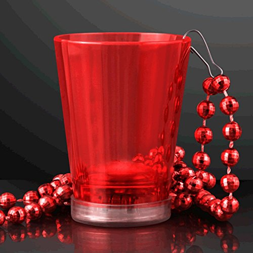 blinkee Light Up Red Shot Glass on Red Beaded Necklaces -