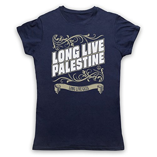 Long Live Palestine Long Live Gaza Camiseta para Mujer Azul Marino