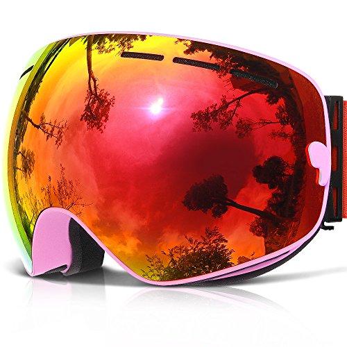 Pink Ski Goggles (Ski Goggles,COPOZZ G1 Mens Womens Ski Snowboard Snowboarding Goggles - Over Glasses Double Lens Anti Fog Frameless,Cool REVO Mirror Red Pink For Men Women Youth Snowmobile Skiing)