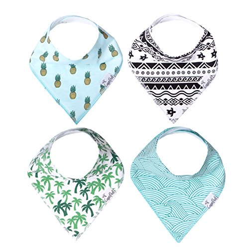 """Baby Bandana Drool Bibs for Drooling and Teething 4 Pack Gift Set for Boys """"Maui Set"""" by Copper Pearl"""