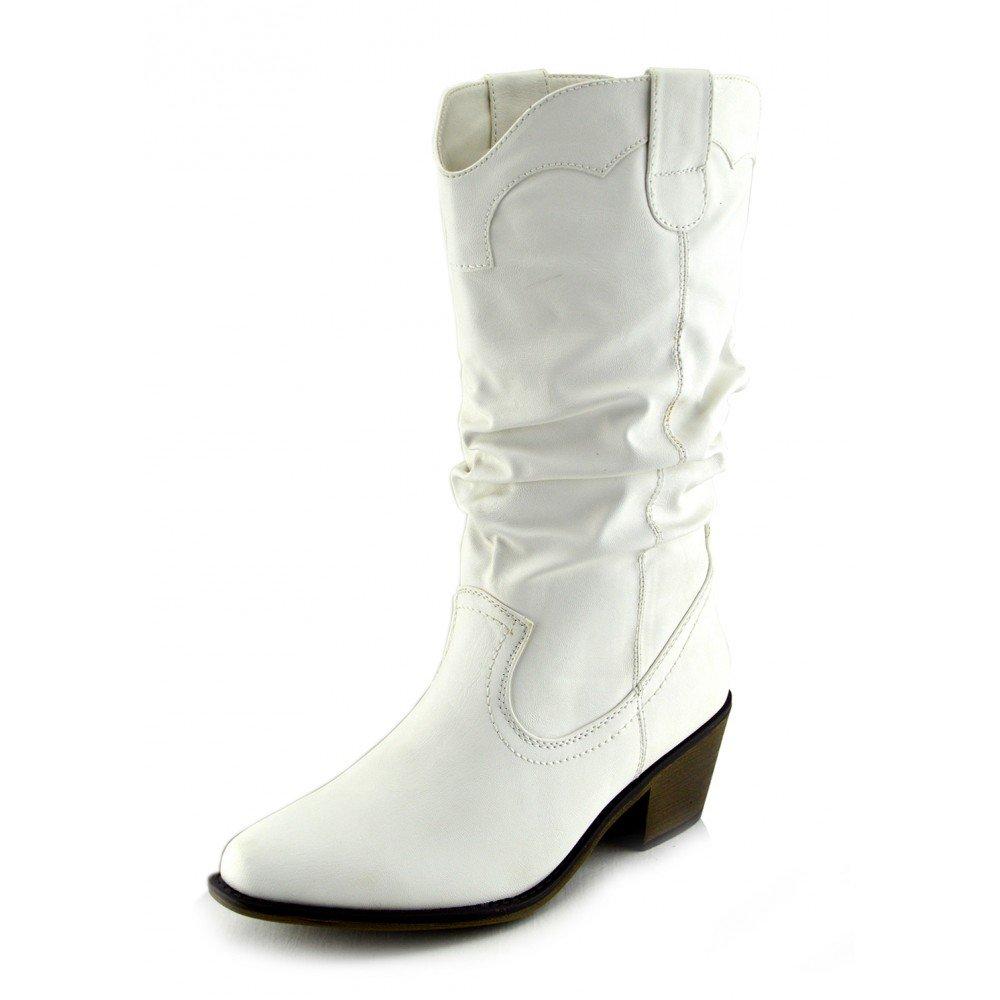 a043efe42a8bc3 Kick Footwear - Damen Frauen Mid-Calf-Block-Ferse Reiten Cowboy Biker Boots  Zip Ups Schuhe Größe - UK 8   EU 41