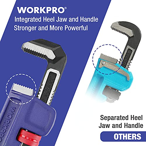 WORKPRO 14-inch Pipe Wrench, Heavy Duty Straight Plumbing Wrench, Drop Forged, Blue