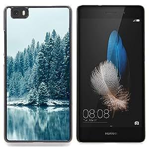 "Qstar Arte & diseño plástico duro Fundas Cover Cubre Hard Case Cover para Huawei Ascend P8 Lite (Not for Normal P8) (Nevado Forrest"")"