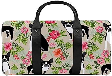 ボストンハワイアン1 旅行バッグナイロンハンドバッグ大容量軽量多機能荷物ポーチフィットネスバッグユニセックス旅行ビジネス通勤旅行スーツケースポーチ収納バッグ