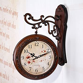 Reloj de pared de doble cara Vintage Relojes de pared digital de reloj: Amazon.es: Hogar