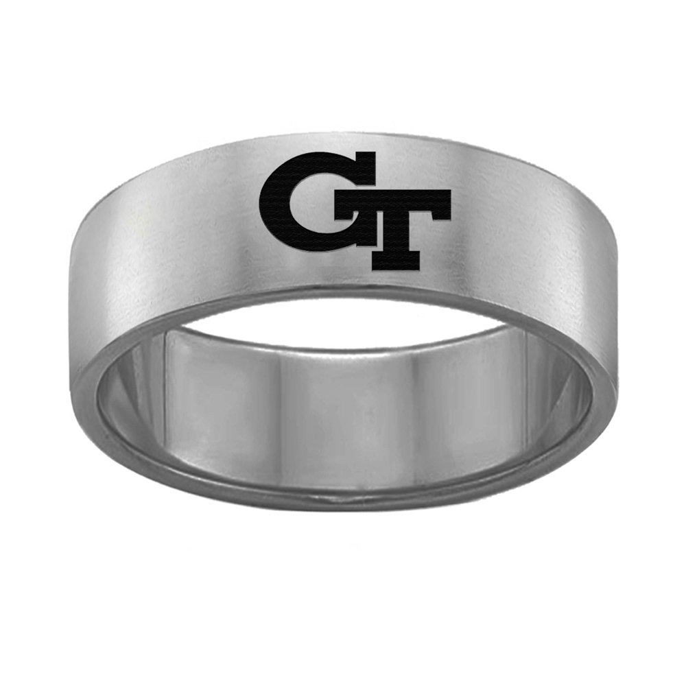 Georgia Tech Yellow Jackets College Rings Stainless Steel 8MM Wide Ring Band - Single Logo Style (10.5)