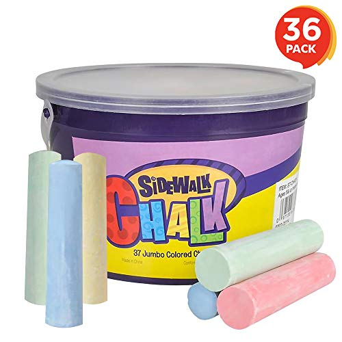 (ArtCreativity Jumbo Sidewalk Chalk Set for Kids | 36 Colorful Chalk Pieces in a Storage Bucket | Portable, Dust-Free and Washable | for Driveway, Pavement, Outdoors | Great Arts and Crafts Gift)