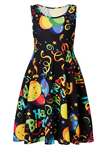 Leapparel Big Girls Stars High Waist Dress Sweet Printed Sleeveless Rond Neck Loose Elastic Cloths for 10-13 Years Little Kids -
