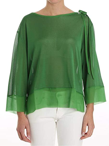 45c2c6008e066 Image Unavailable. Image not available for. Color  Alberta Ferretti Women s  A093516090391 Green Silk Blouse
