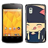 Smartphone Protective Case Slim PC Hard Cover Case for LG Nexus 4 E960 / CECELL Phone case / / Cute Hungry Cartoon Girl /
