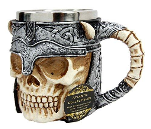 Ebros Viking Horned Demon Warrior Skull With Battle Helmet Mug Beer Stein Tankard Coffee (Helmet Mug)