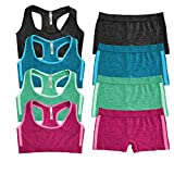 Popular Girl's Seamless Racerback and Boyshort Set - 4 Pack - Brights - S