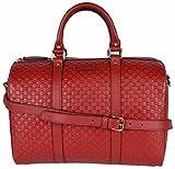 Gucci Women's Leather Micro GG Guccissima Convertible Boston Bag Satchel (Red)