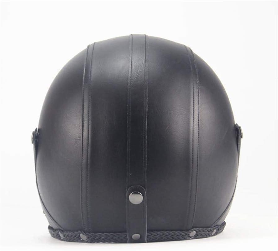 ASDQ Helmet Retro Hand Retro Halley Helmet Motorcycle Half Helmet Semi-covered Neutral 3//4 Leather Helmet Color : Black2-XL