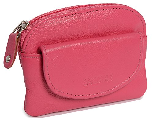 SADDLER Womens Fuchsia Compact Soft Nappa Leather Zip Top Coins & Key Purse with Front Flap Pocket