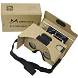 Google Cardboard Kit V2 by MINKANAK Big Lens 3D Virtual Reality Cardboard Glasses with Head Strap and NFC,Compatible with 3-6inch Screen Android and Apple Smartphone