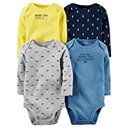 Carter's Baby Boys 4-pack Long-sleeve Bodysuits (3 months, cuteness)