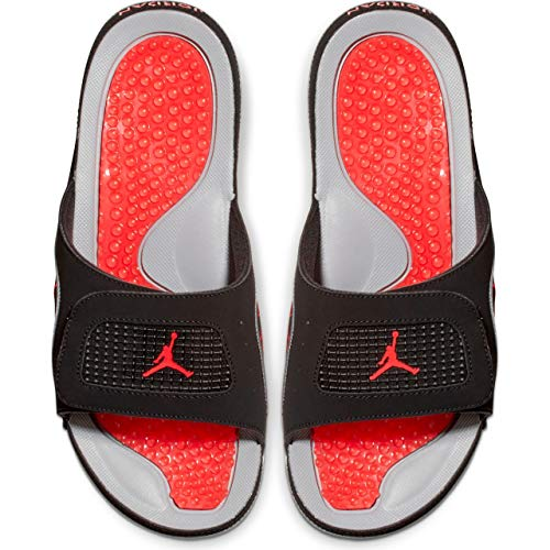 Jordan Hydro Iv Retro Mens Slides 532225-006, Black/Fire Red/Cement Grey, Size US 13 (Retro 13 Cement Grey)