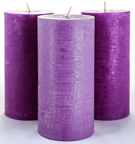 Set of 3 Purple Pillar Candles 3 x 6 Unscented Handpoured for Weddings, Church, Home Decoration, Relaxation, Spa, Smokeless Cotton Wick - Fragrance-Free by Melt Candle Company