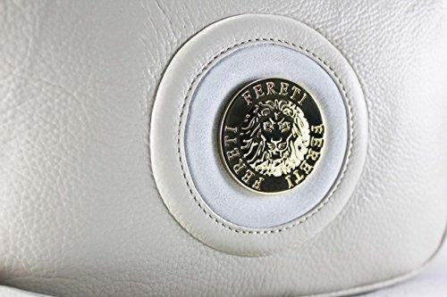FERETI Borsa a tracolla piccola vera pelle Beige e bianco catena d'oro con nappa e Leone Fereti