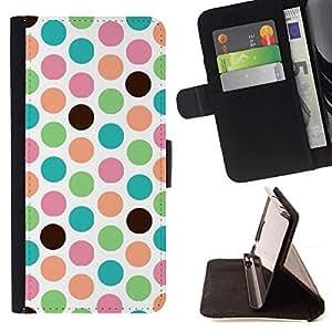 Momo Phone Case / Flip Funda de Cuero Case Cover - Patrón de punto del trullo Verde Blanco - Samsung Galaxy S4 IV I9500