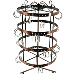 Revolving 96 Pairs Earring Display Stand Copper Color Metal 14""