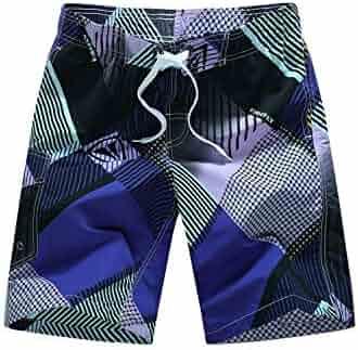 FUTULY Mens Retro Printed Beach Pants Loose Quick-Drying Swim Trunks Boxer Five Pants