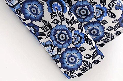 Summer Floral Buttons Women V R Maxi Vivimos Neck Dresses Cotton Print Drawstring Blue Bohemian White 05RYxqEx