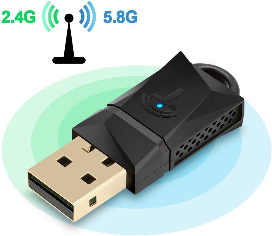 Rocketek 600Mbps Wireless USB WiFi Dongle Adapter, Dual Band (2.4G/150Mbps + 5G/433Mbps) Tarjeta de red inalámbrica lan para Windows/XP/Vista/7/8/10/Linux/Mac OS X