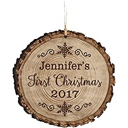 "Personalized Baby's First Christmas Ornament New Parent gift ideas for newborn boys and girls Custom engraved ornament for mom dad and grandparents 3.75"" (First Christmas 2016)"