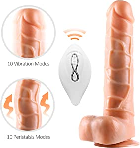 Heating Lifelike Dicks Thrusting Viberate Dido Adult Toys for Women Rechargeable Handheld Personal 9 Inch Waterproof Medical Silicone Wand with 10 Powerful Vibration for Her Pleasure Sport