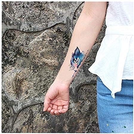 5pcs Tatuaje Impermeable Blue Badge Mitad la Cara del Gato Tatuaje ...