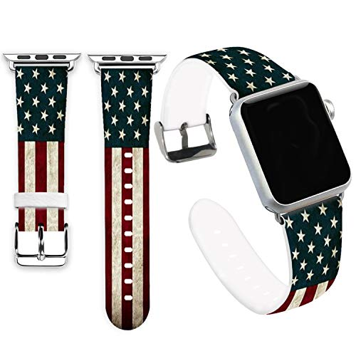 Flag Bands for Apple Watch 42mm,Jolook Soft Leather Sport Style Replacement iWatch Band Strap for iWatch 44mm Series 4/42mm Series 3 Series 2 Series 1 - American Flag