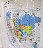 PVC World Map Shower Curtain