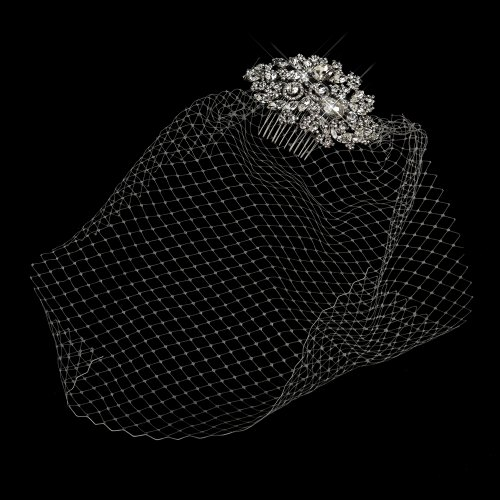 Olga Antique Silver Rhodium Multi Cut Crystal Side Cage Veil Wedding Bridal Occasion Comb by Special Moments LLC