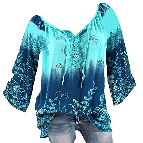 - Lace Printed Bandage Long Sleeves Tops Women V-Neck Plus Size Loose Blouse