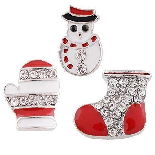 Chunk Snap Charm MiniSnap Christmas Winter Holiday Set 3 Red Boot Snowman Mitten Clear Rhinestones 12mm 1/2