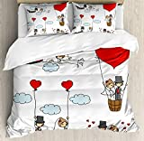 Ambesonne Wedding Duvet Cover Set King Size, Cartoon Couple Romantic Caricatures Getting Married Newlywed Happiness, Decorative 3 Piece Bedding Set with 2 Pillow Shams, Red Mint Green Grey