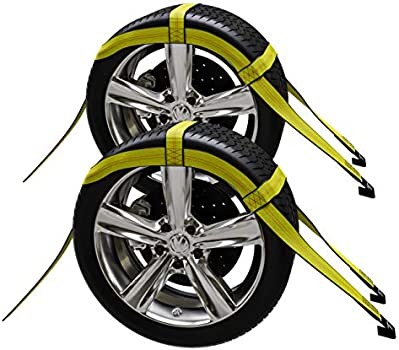 19-21 Inches, Yellow 2X Car Basket Straps Adjustable Tow Dolly DEMCO Wheel Net Set Flat Hook Standard Wheels Fits
