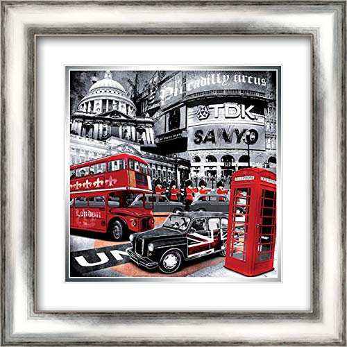 London Piccadilly Circus 20x20 Silver Contemporary Wood Framed and Double Matted Art Print by Braun Studio