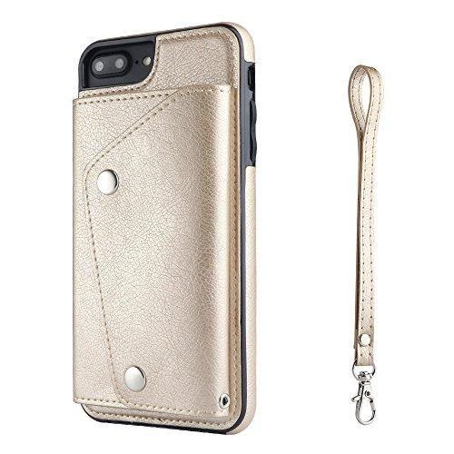 TOTOOSE iPhone 7 Plus iPhone 8 Plus Case, Premium PU Leather Wallet Pouch Flip Cover Case Anti-Scratch Defender CoverShell For iPhone 7 Plus iPhone 8 Plus (Golden) ()