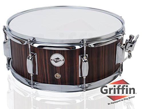 Snare Drum by Griffin | Black Hickory PVC Glossy Finish on Poplar Wood Shell 14' x 5.5' | Percussion Musical Instrument with Drummers Key for Students & Professionals | 8 Lugs & Deluxe Snare Strainer