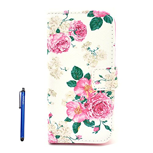 P8 Lite Case, P8 Lite Leather Case,Vfunn Fashionable Flip Leather Wallet Case Cover Pouch for Huawei P8 Lite Only, with 1 Stylus Pen Stand Function Credit Card Slot (P8 Lite Leather Case) (Rose)