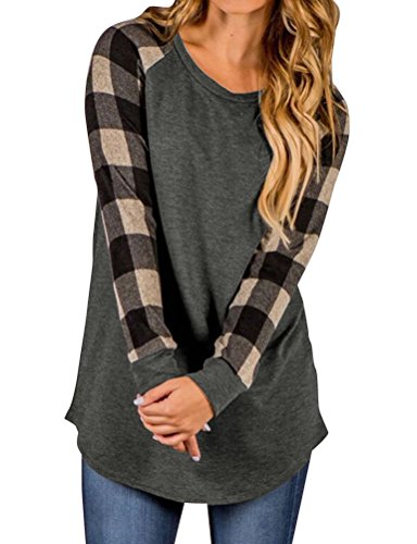 Crewneck Sleeve Long Raglan (WLLW Women Plaid Print Long Sleeve Crew Neck Raglan Shirt Tops Blouse Tunic (S, Khaki))