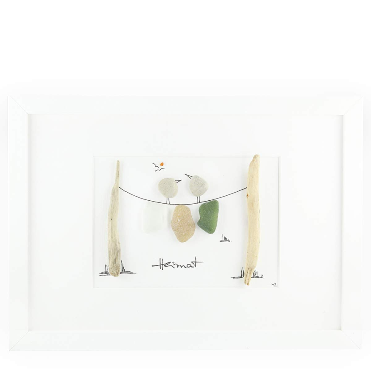 Kieselkunst Kiesel-Steinbilder Heimat Querformat gro/ß 23,5x32,5cm