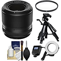Fujifilm 60mm f/2.4 XF R Macro Lens with Macro Ring Light & Tripod + UV Filter + Kit for X-A2, X-E2, X-E2s, X-M1, X-T1, X-T10, X-Pro2 Cameras