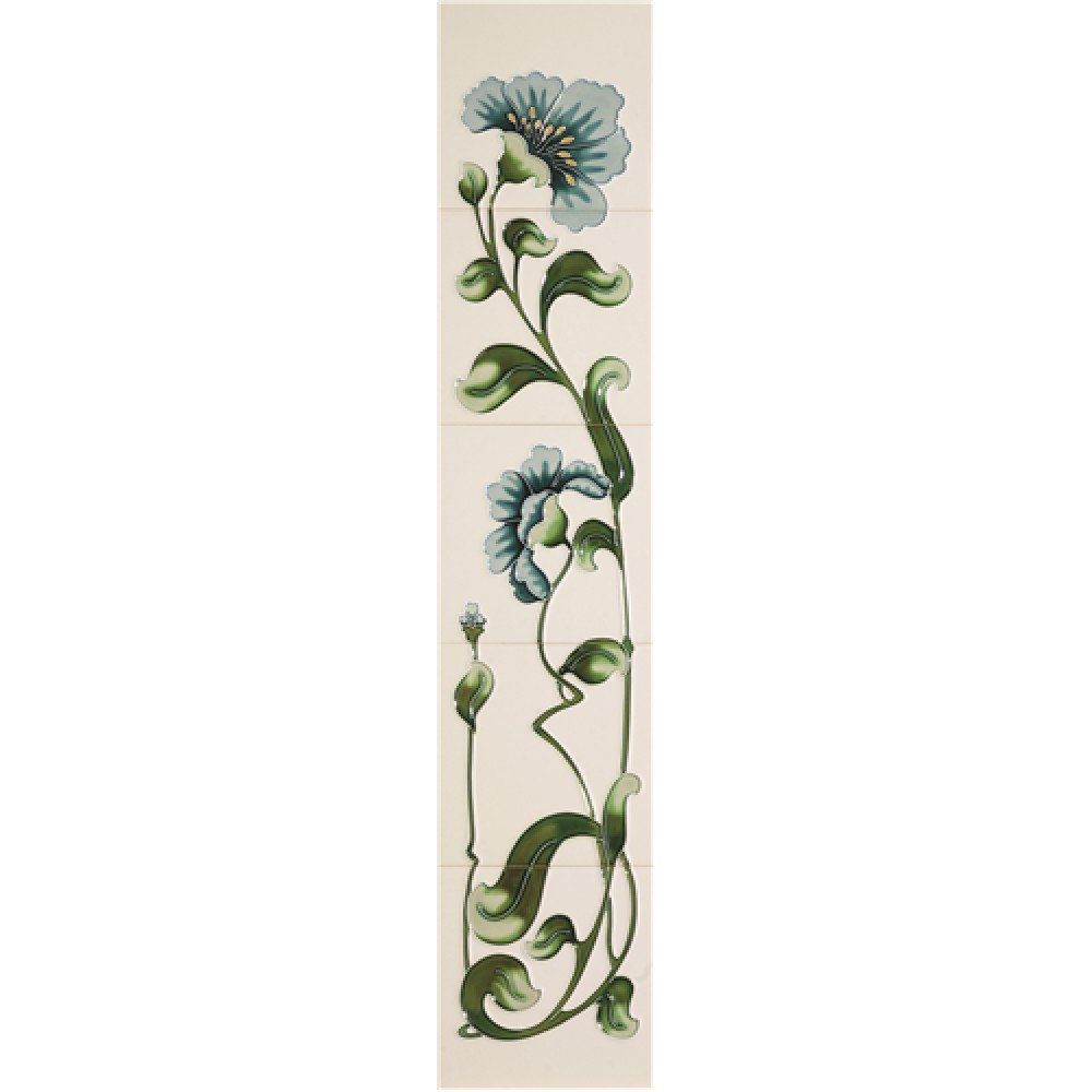 Castec Luscia Tube Lined Victorian Fireplace Tiles - Ivory Blue